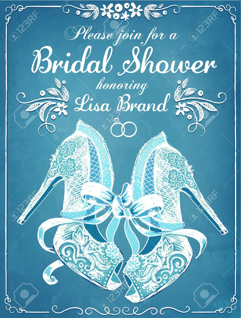 bridal shower invitation card with beautiful lace brides shoes floral frame wedding invitation stock