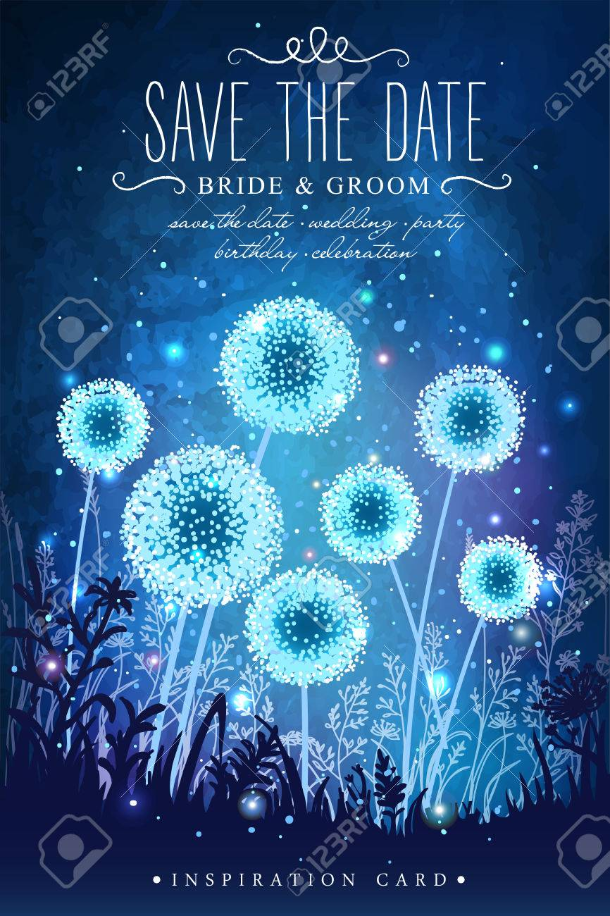 Amazing dandelions with magical lights of fireflies at night sky background. Inspiration card for wedding, date, birthday, holiday or garden party. Save the Date - 55166427