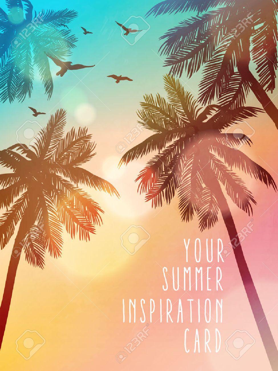 Summer beach illustration. Inspiration card for wedding, date, birthday, beach party invitation - 55166428