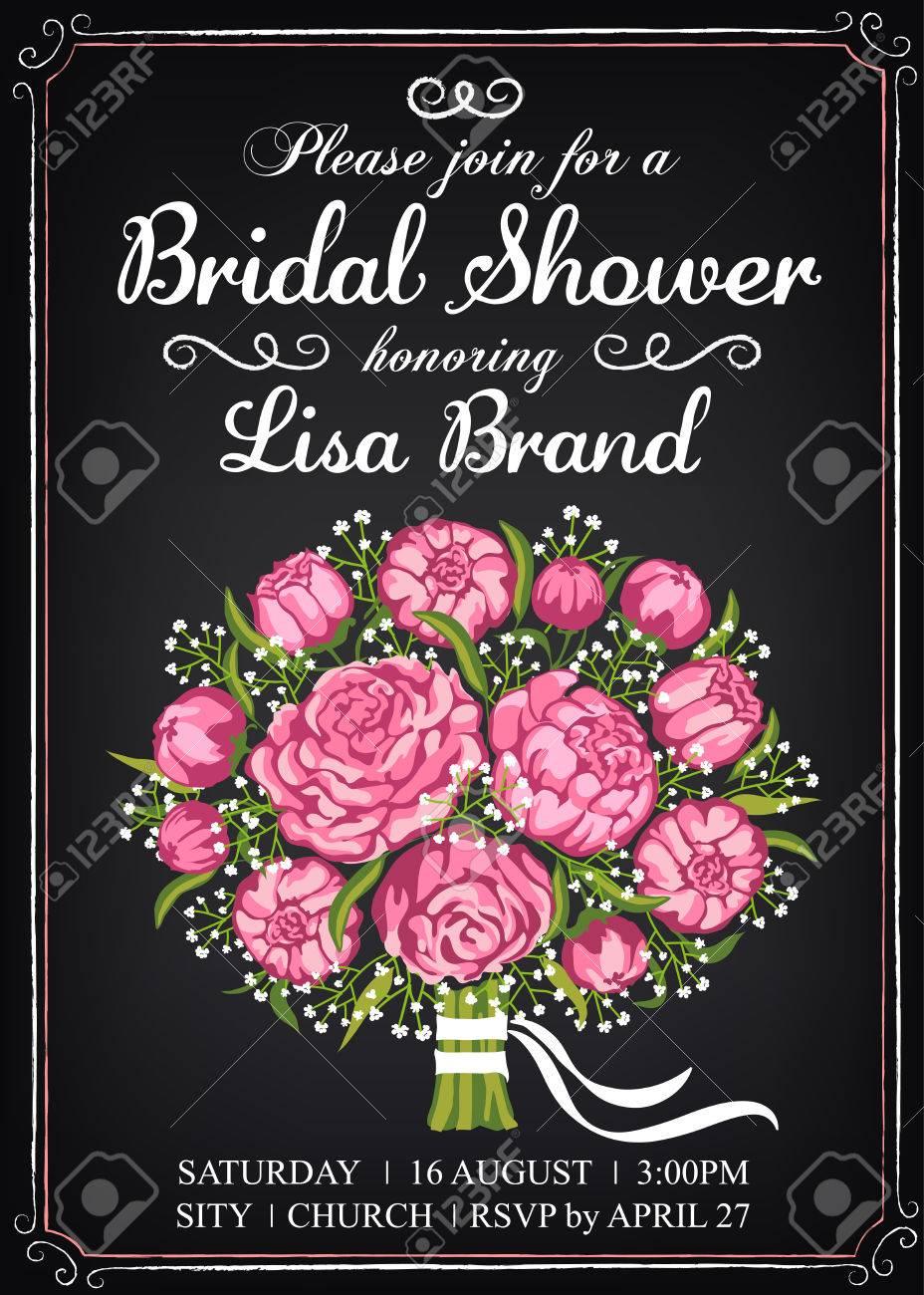 Einladung Vorlage Mit Schönen Hochzeit Bouquet. Brautdusche. Vintage Stil.  Tafel Standard