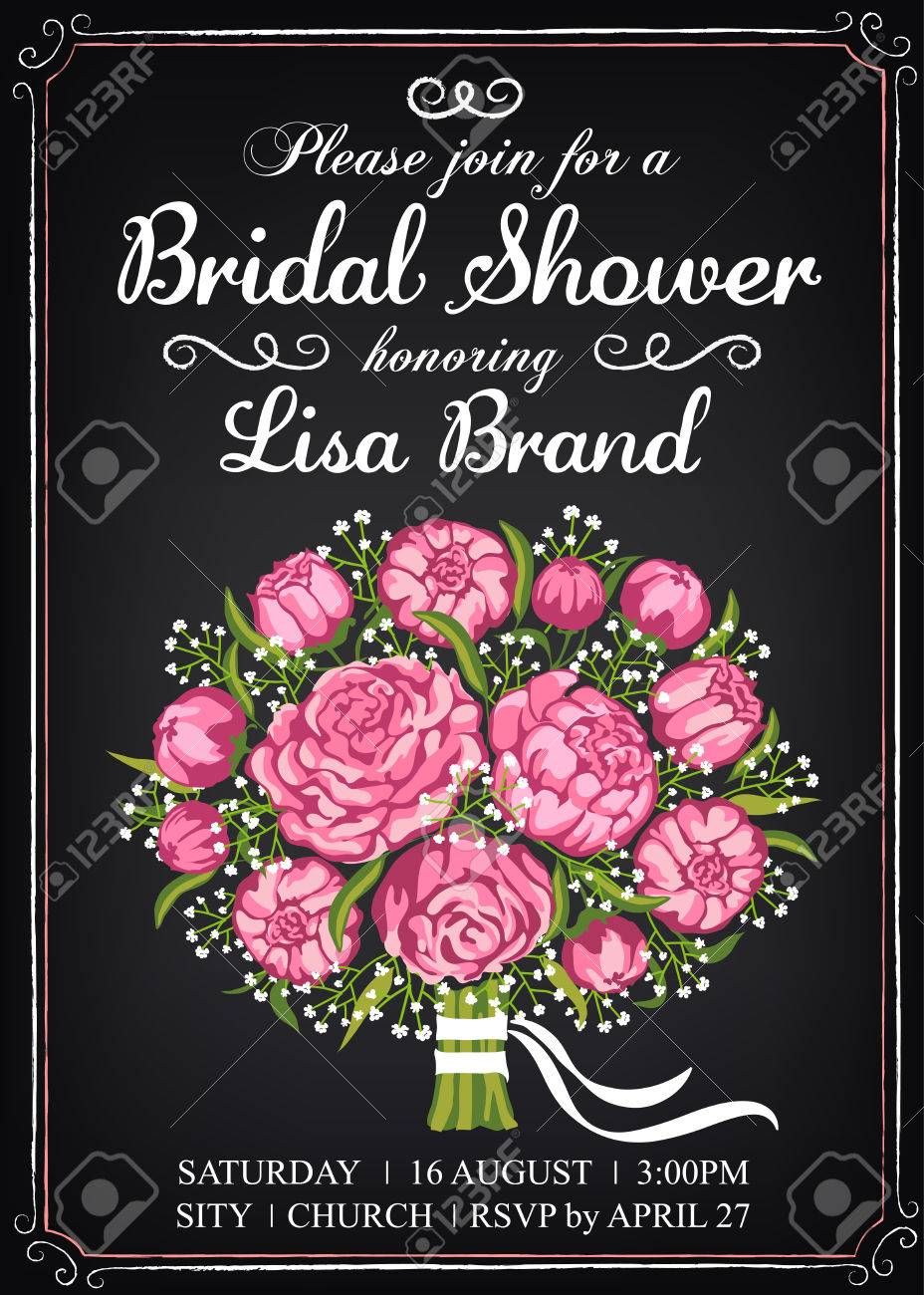 invitation template with beautiful wedding bouquet bridal shower vintage style chalkboard stock vector