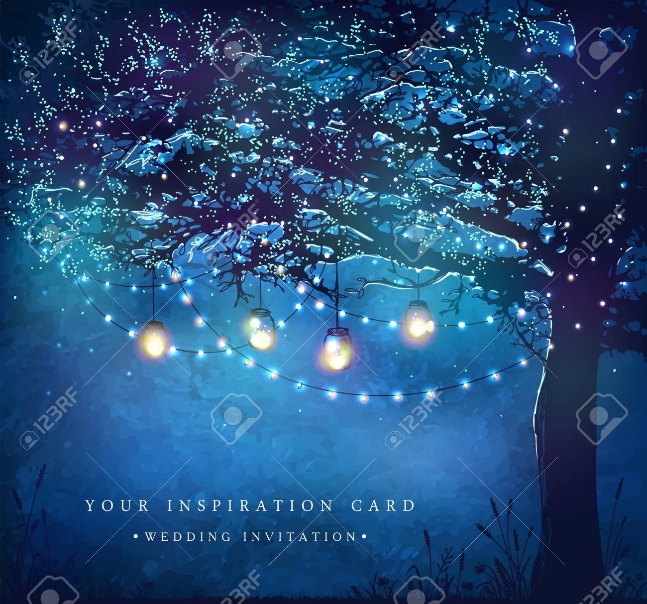 Hanging decorative holiday lights for a party. Garden party invitation. Inspiration card for wedding, date, birthday, tea party - 56483739