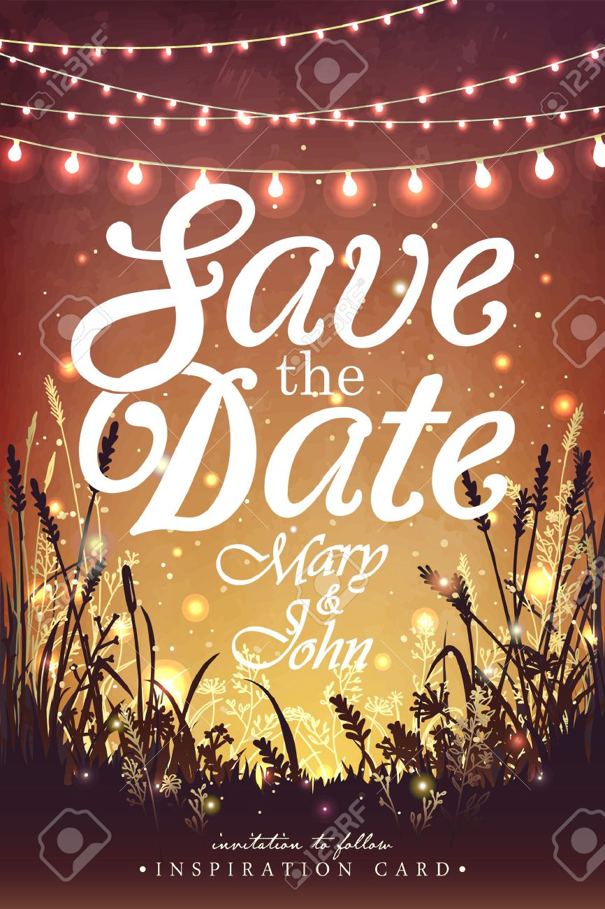 Hanging decorative holiday lights for a party. Garden party invitation. Inspiration card for wedding, date, birthday party - 56483745