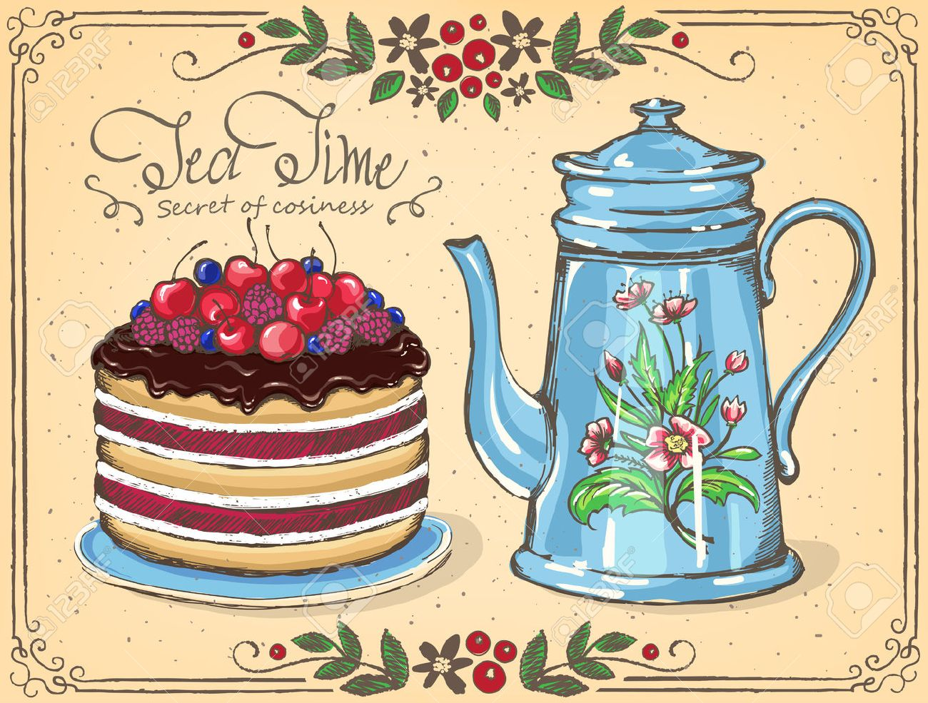 Illustration Tea Time with Berry cake and teapot. floral frame. sketch. Inspiration card for birthday party, tea party - 56833595