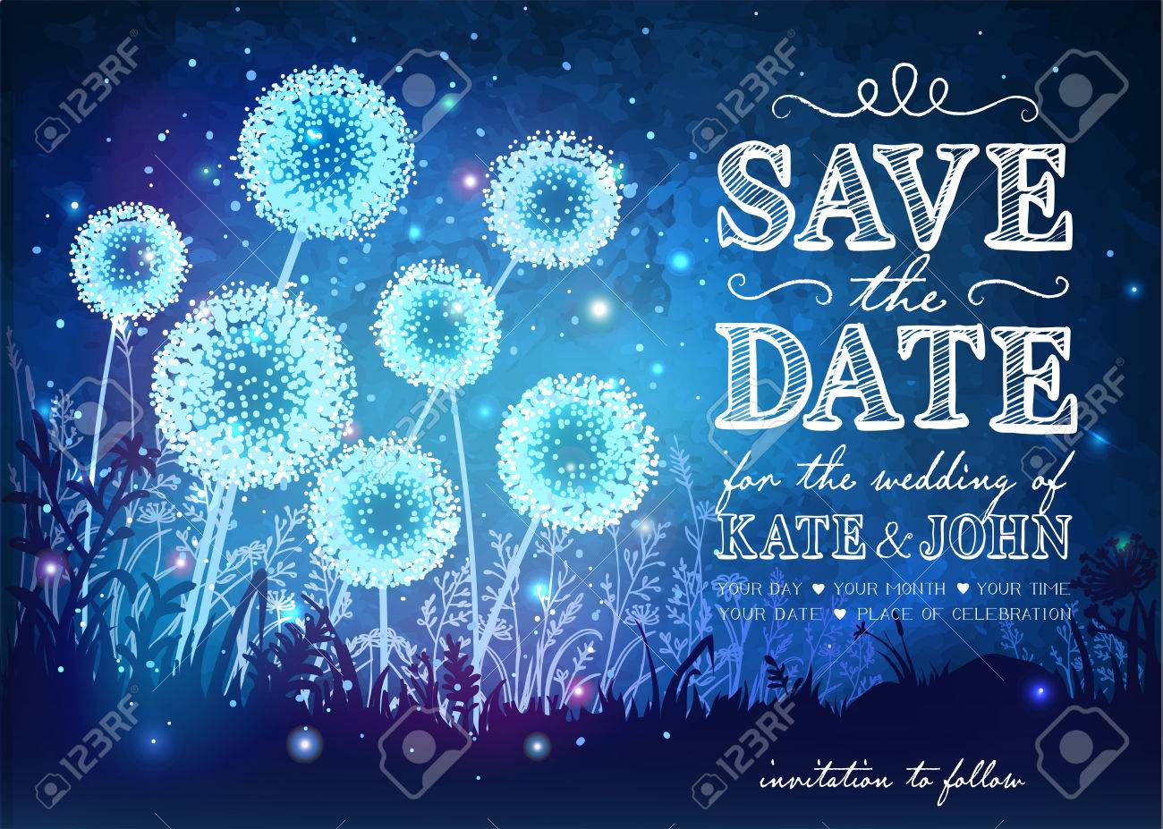 Amazing dandelions with magical lights of fireflies at night sky background. Inspiration card for wedding, date, birthday, holiday or garden party. Save the Date - 56833596