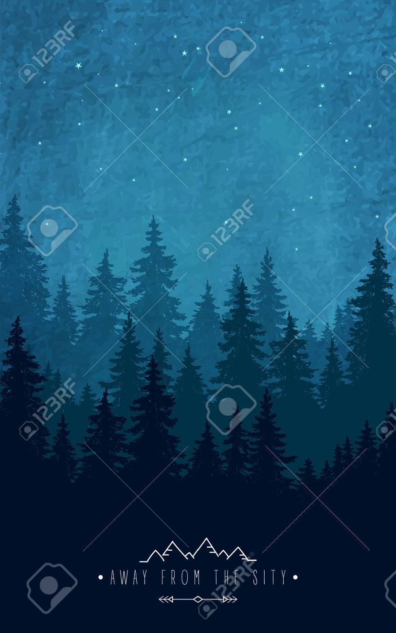 Scenic quotes daily inspirational quotations and sayings on - Vector Woodland Scenery Silhouette Of Forest At Night Sky Inspirational Quote To Rest Outdoors And Holidays Out Of Town Wildlife And Nature