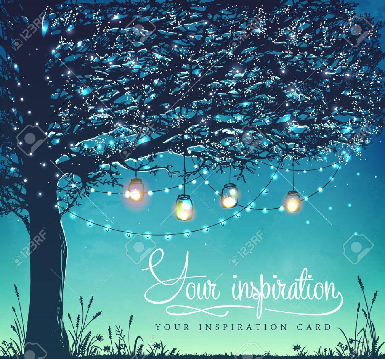 Hanging decorative holiday lights for a back yard party, wedding, date, birthday. Inspiration card. Garden party invitation - 58943902