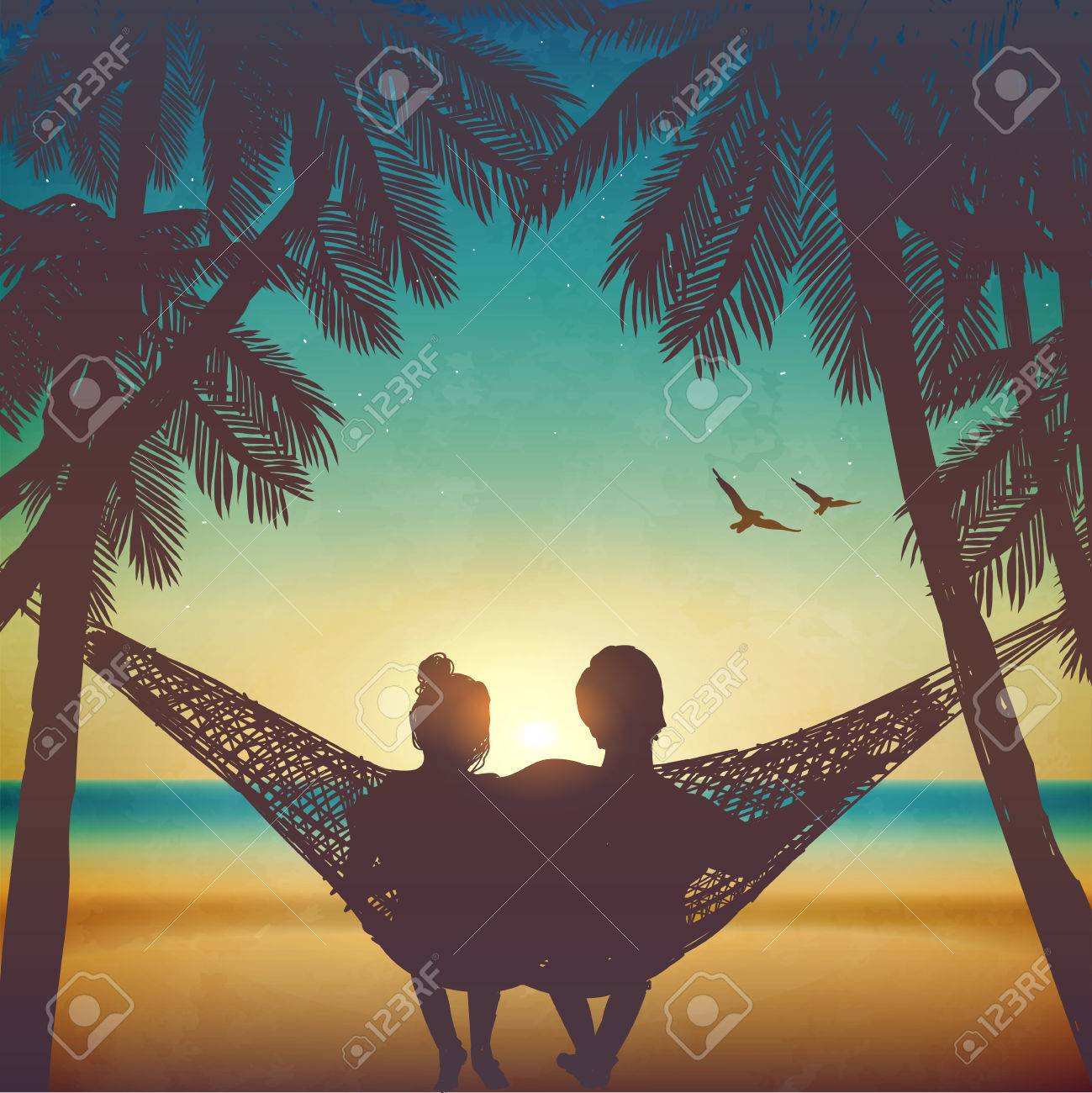 Couple in love at the beach on hammock. Inspiration for wedding, date, romantic travel card. Family - 58943928