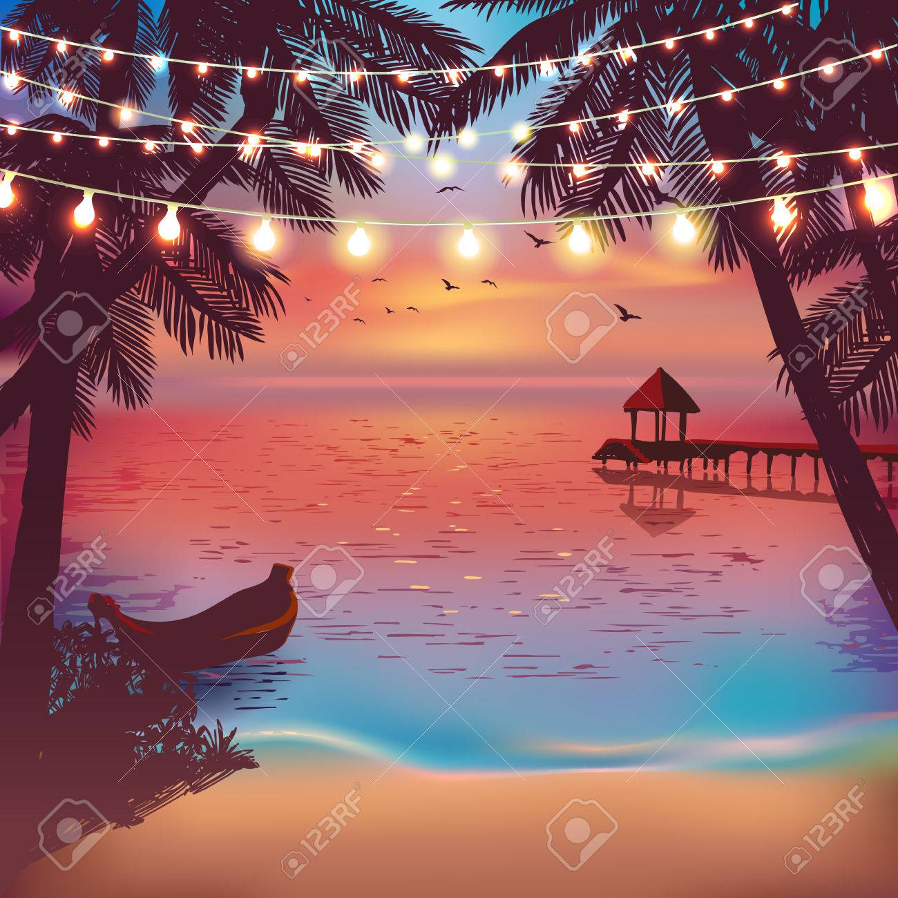 Hanging decorative holiday lights for a beach party. Inspiration card for wedding, date, birthday. Beach party invitation. Travel poster - 60981472