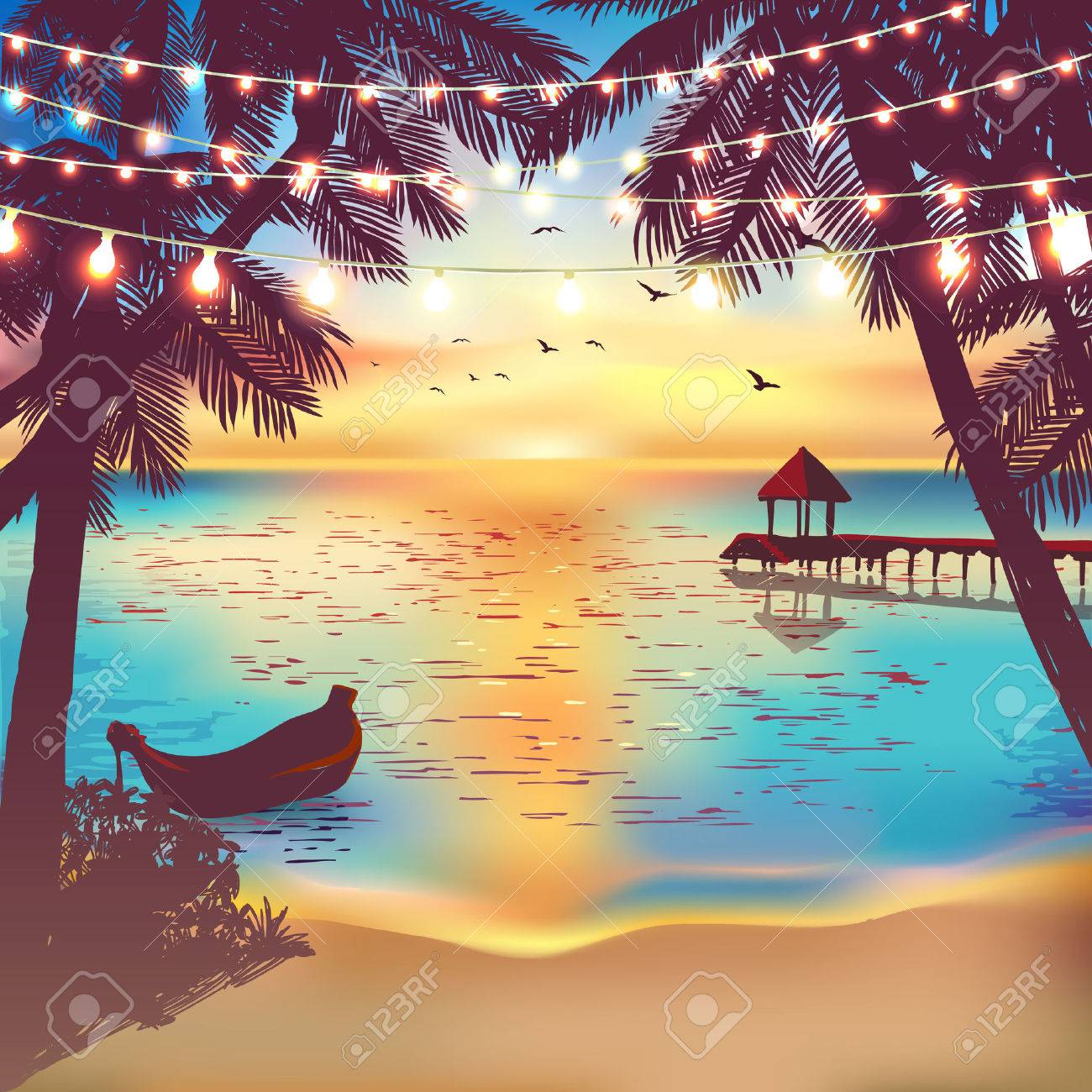 Hanging decorative holiday lights for a beach party. Inspiration card for wedding, date, birthday. Beach party invitation. Travel poster - 60981855