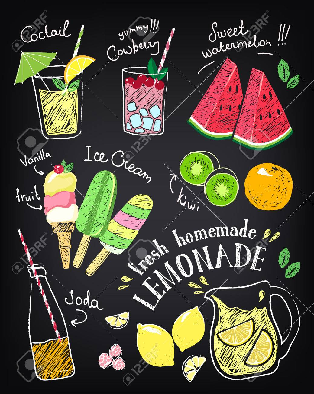 Set of hand drawn stickers and icons of summer food and drink. - 60982528
