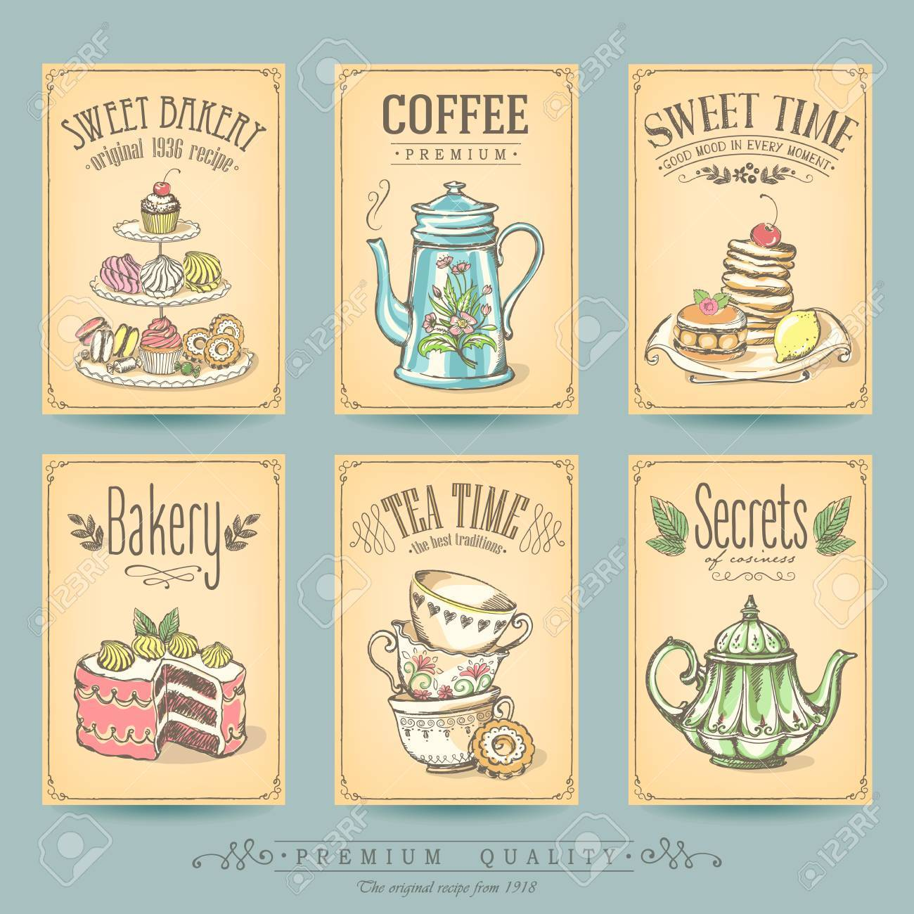 Card collection pastries and tea. Vintage posters of bakery sweet shop or coffee house. Freehand drawing, sketch - 74368999