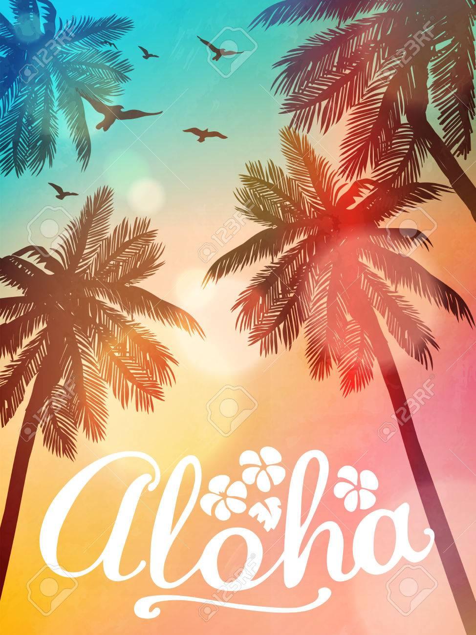 Summer beach illustration Aloha. Inspiration card for wedding, date, birthday, tropical party invitation. - 79512751