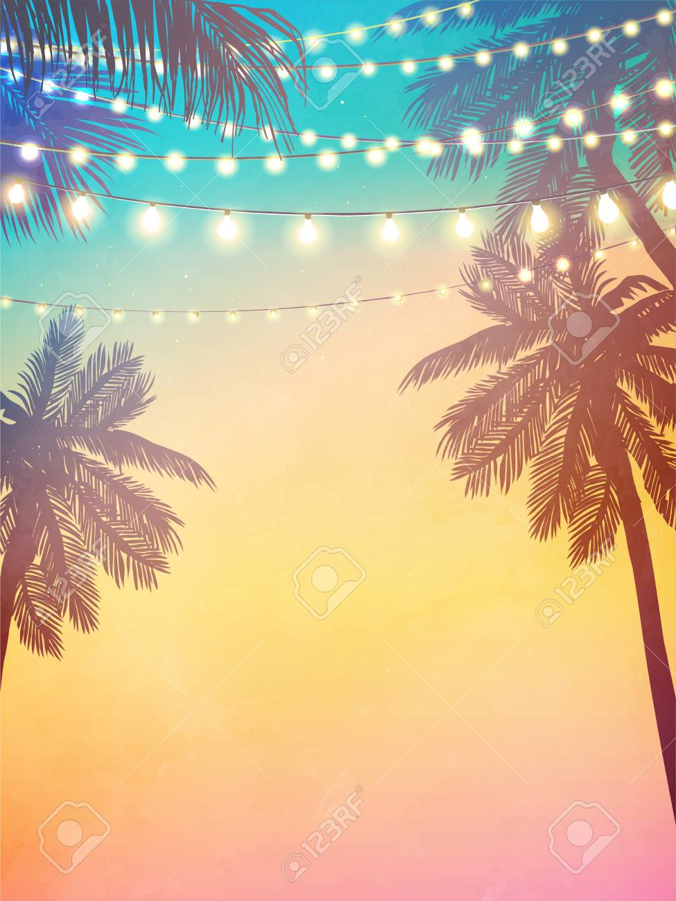 Hanging decorative holiday lights for a beach party invitation. Inspiration card for wedding, date, birthday - 121620384