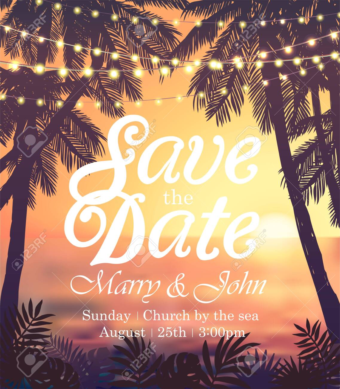 Hanging decorative holiday lights for a beach party invitation. Inspiration card for wedding, date, birthday, travel advertising - 121160533