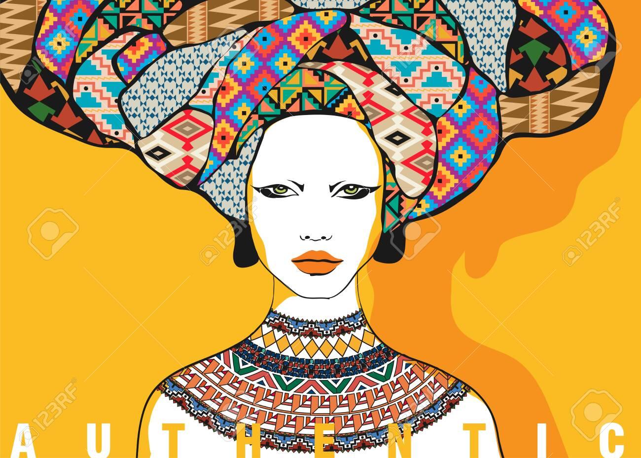 Conceptual fashionable illustration. Female portrait in ethnic style. Graphic art - 128370689