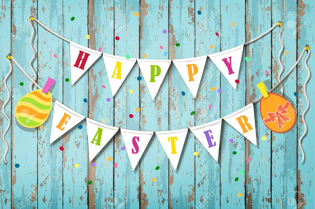 Happy Easter wooden background. Vintage banner with garland of colour decoration flags and confetti - 141477555