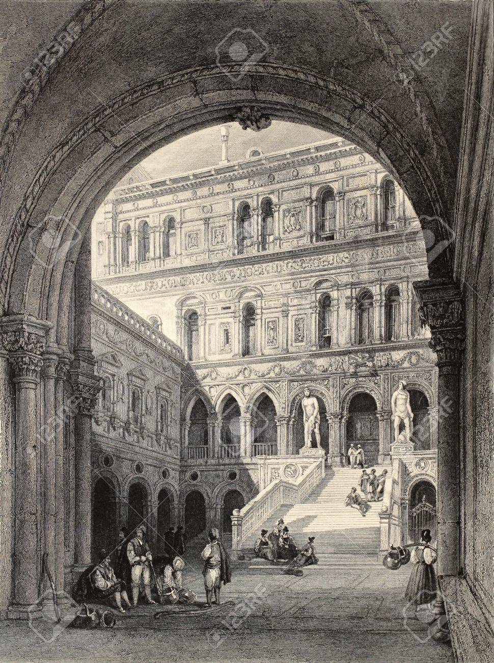 Antique illustration of Scala dei Giganti (Giants' Staircase) in Doge's Palace, Venice. Original, created by W. L. Leitch and T. Turnbull, was published in Florence, Italy, 1842, Luigi Bardi ed.  Stock Photo - 14939229
