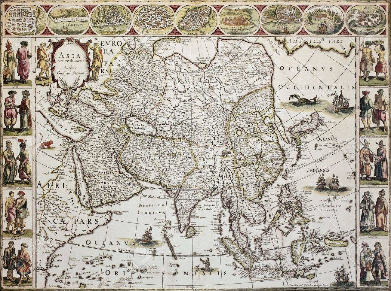 Asia Old Map Created By Willem Bleau Published In Amsterdam - Amsterdam old map