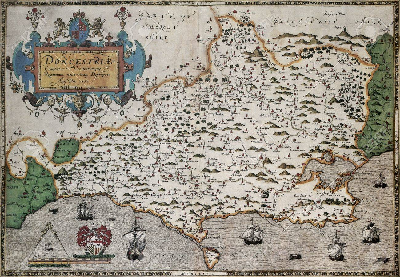 Atlas Map Of England.Dorset Old Map From Atlas Of England And Wales Created By Christopher