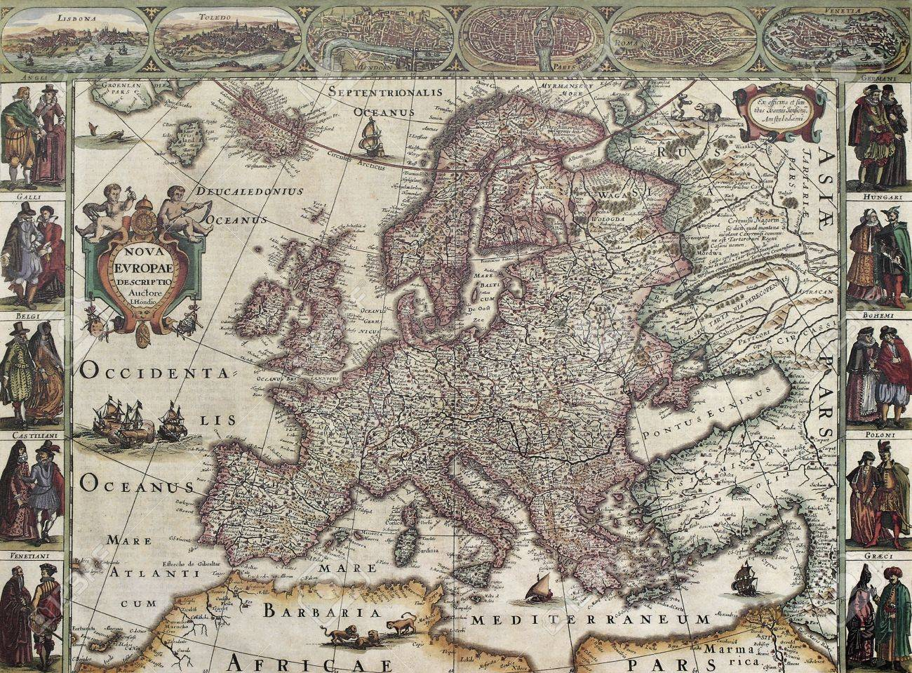 Europa Old Map Created By Henricus Hondius Published In Amsterdam - Amsterdam old map