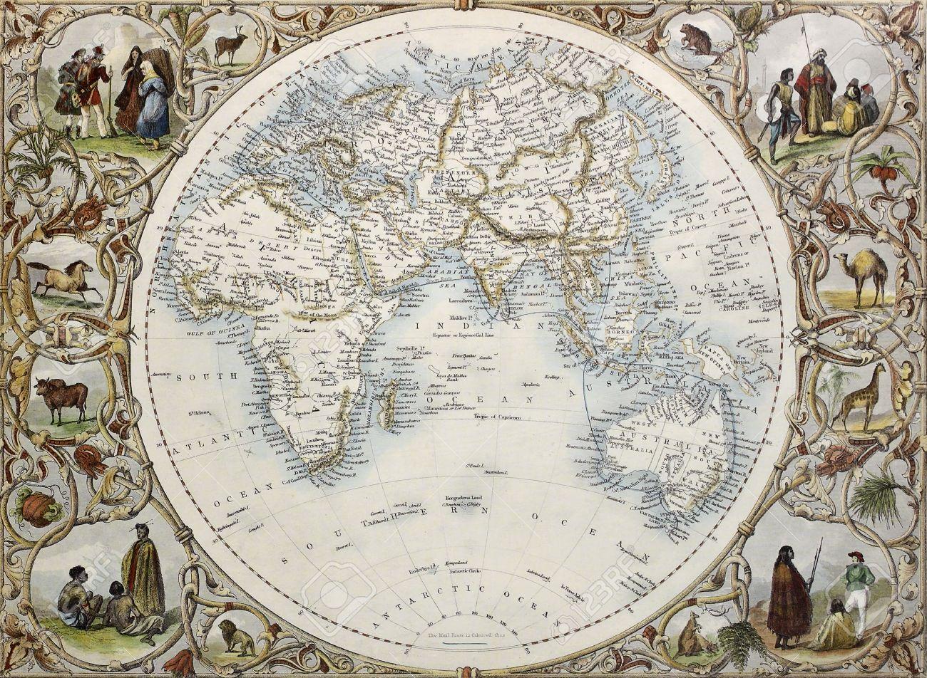 半球の東洋の古地図。ジョン ・ タリス、示すアトラス、ロンドン 1851 ...