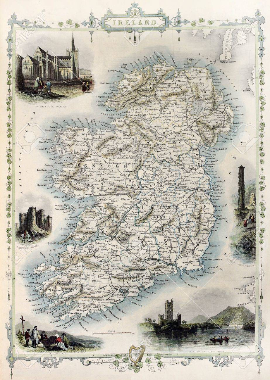 アイルランドの古地図。ジョン ・ タリス、示すアトラス、ロンドン ...