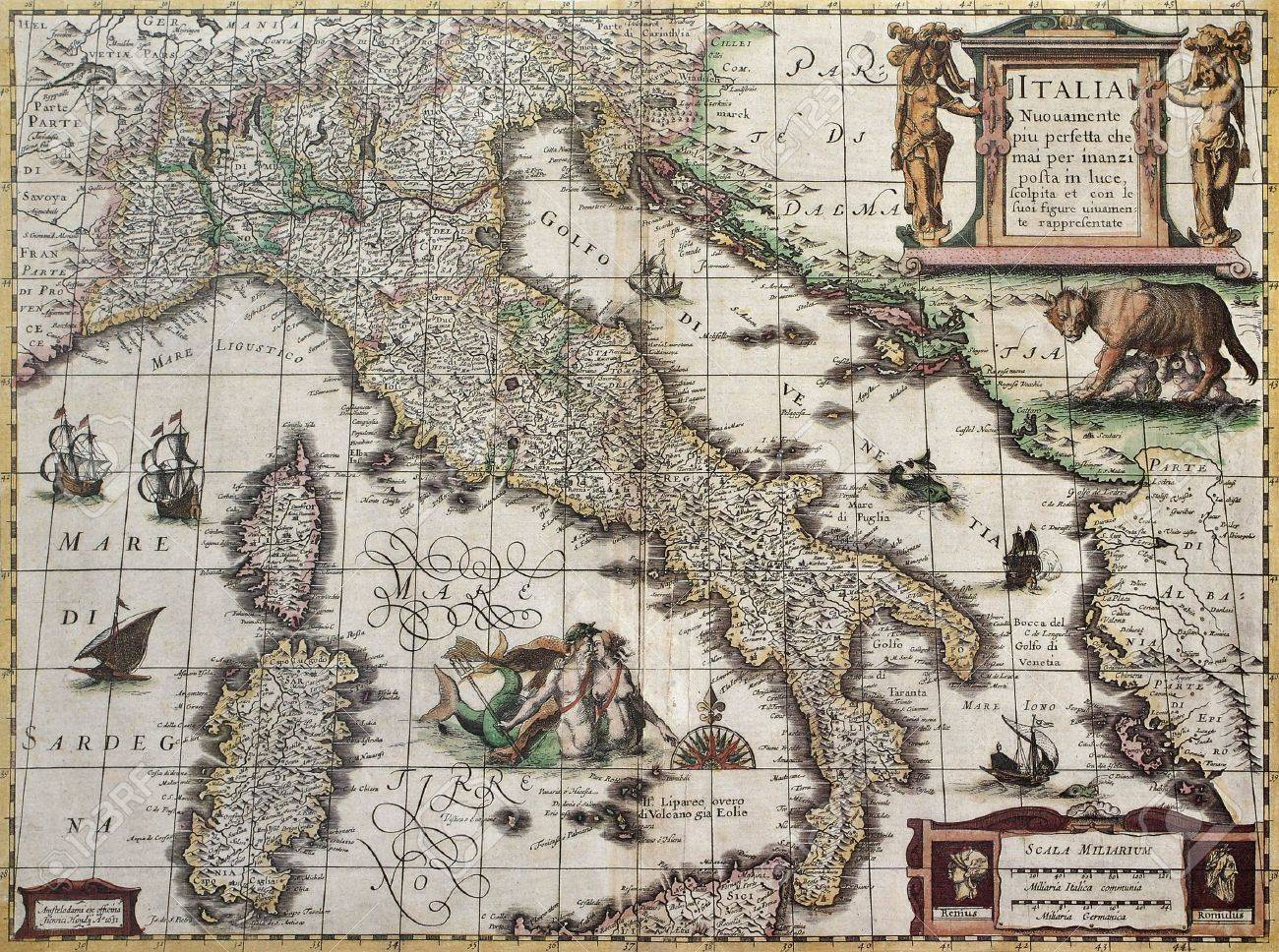 Carte Italie Ancienne.Carte De L Italie Ancienne Henricus Hondius Cree Par Publie A Amsterdam 1631