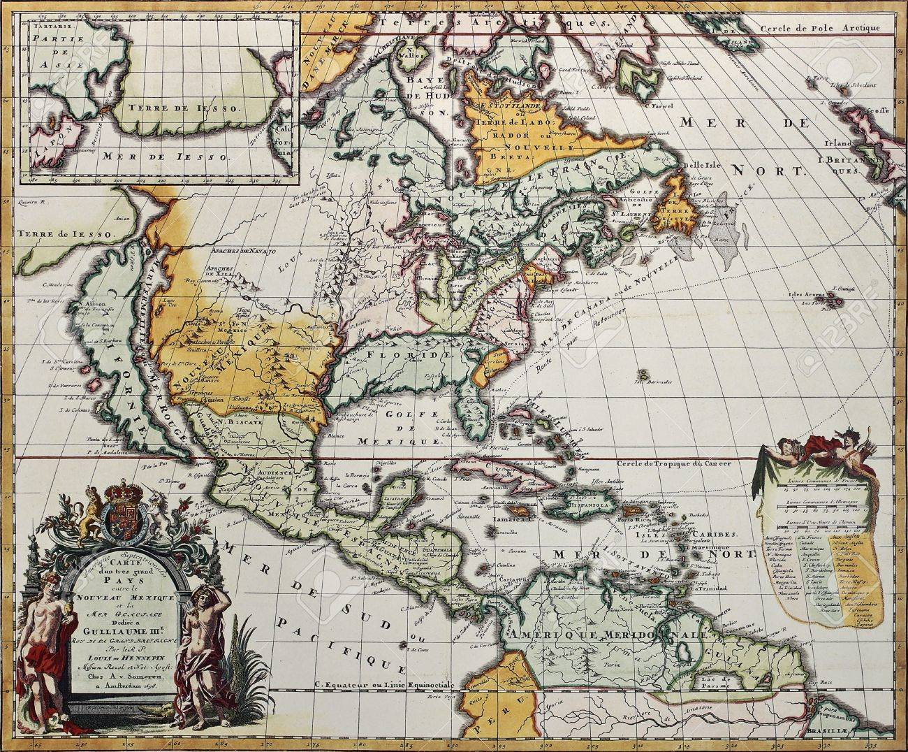 North America old map. Created by Louis Hennepin, published in..