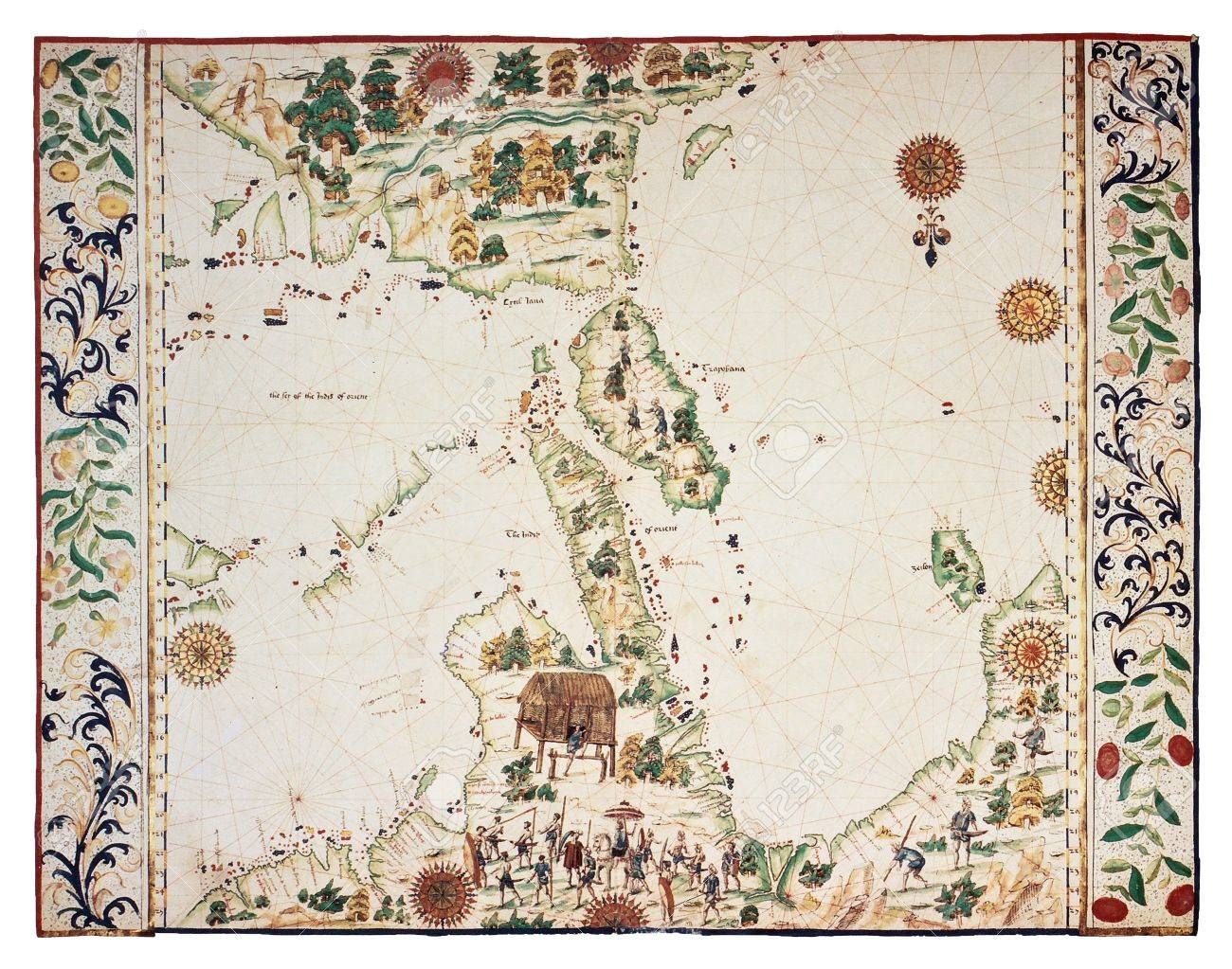 Map Of Southern And Eastern Asia.Old Map Based On South Eastern Asia Portolano By Jean Roth Stock