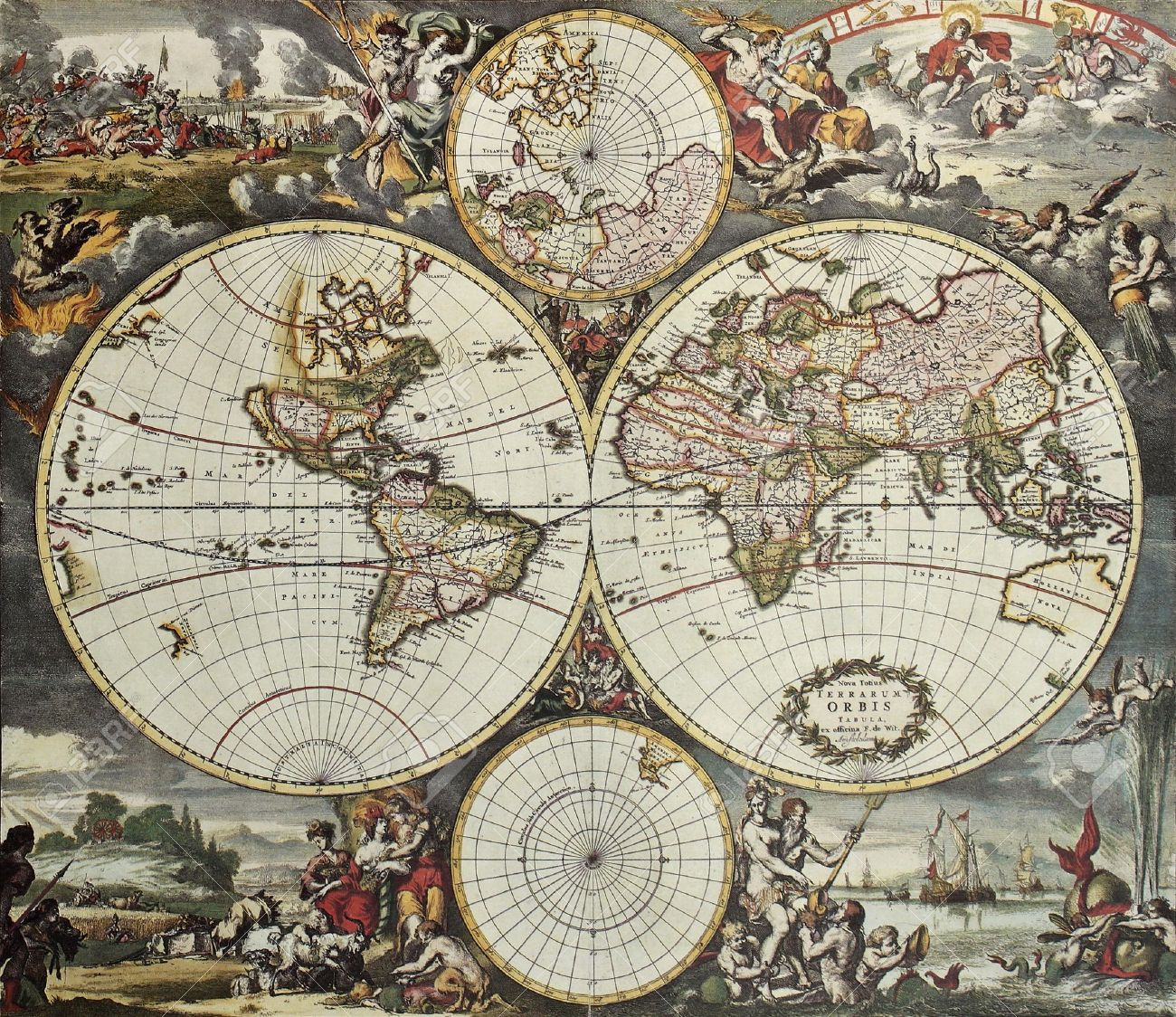 Old Map Of World Hemispheres Created By Frederick De Wit Published - Amsterdam old map