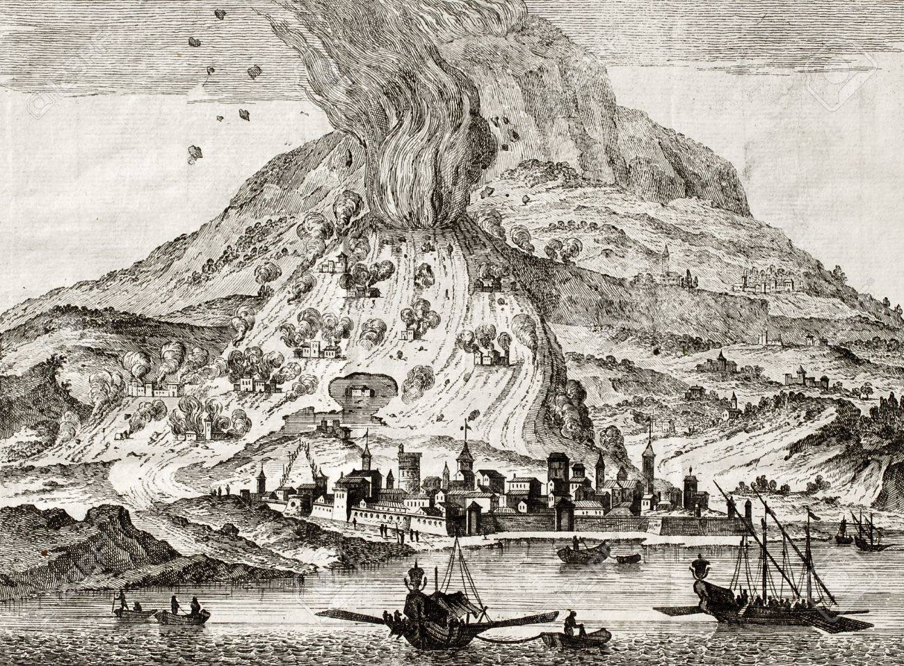 Antique illustration of Catania, Sicily, and Etna volcano erupting. May be dated to the 18th c. Stock Photo - 14986579
