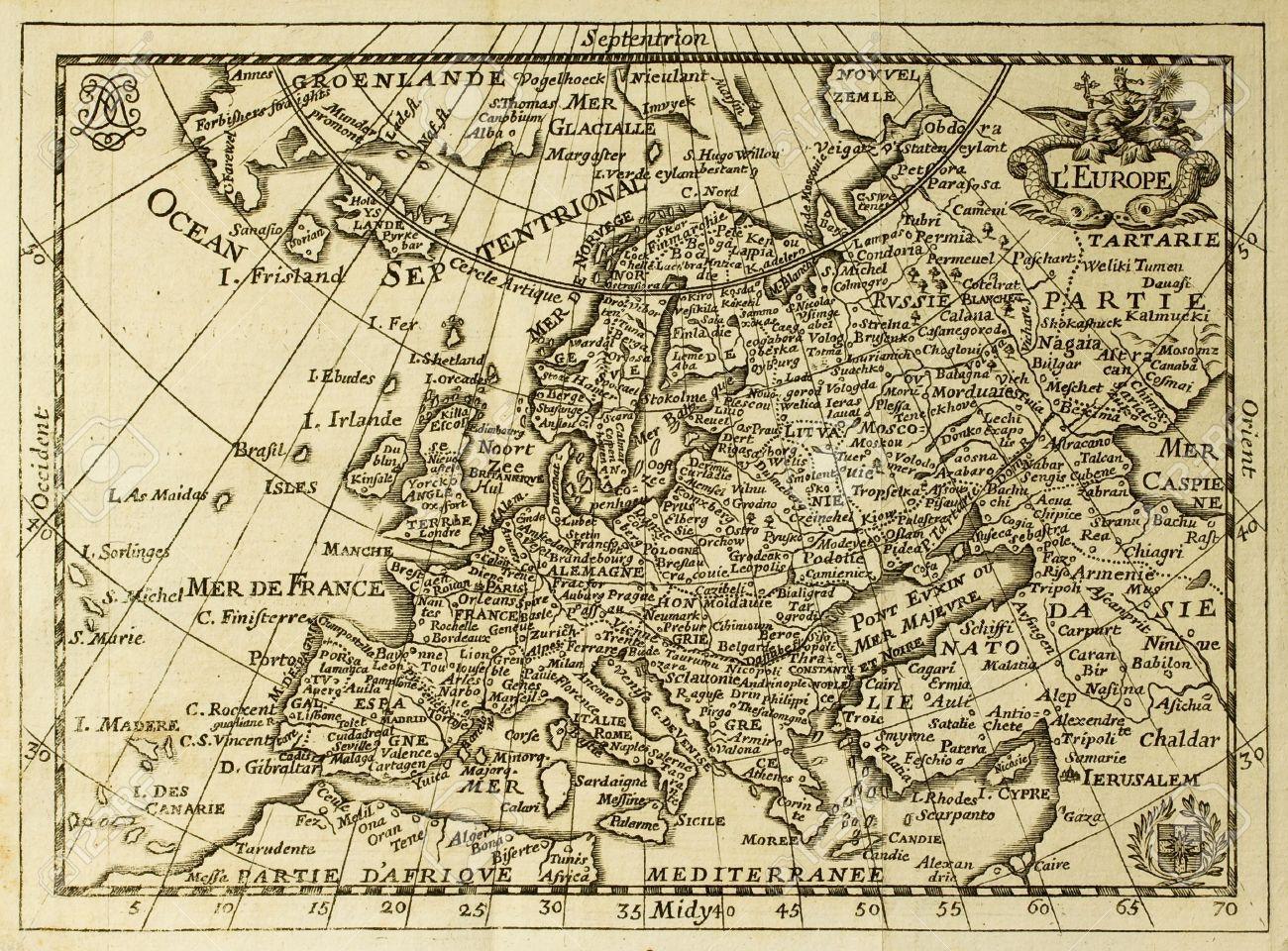 Carte Europe Avec Meridiens.Vieux Carte De L Europe Avec Les Paralleles Et Les Meridiens Peut Etre Date De La Fin Du Xvii S
