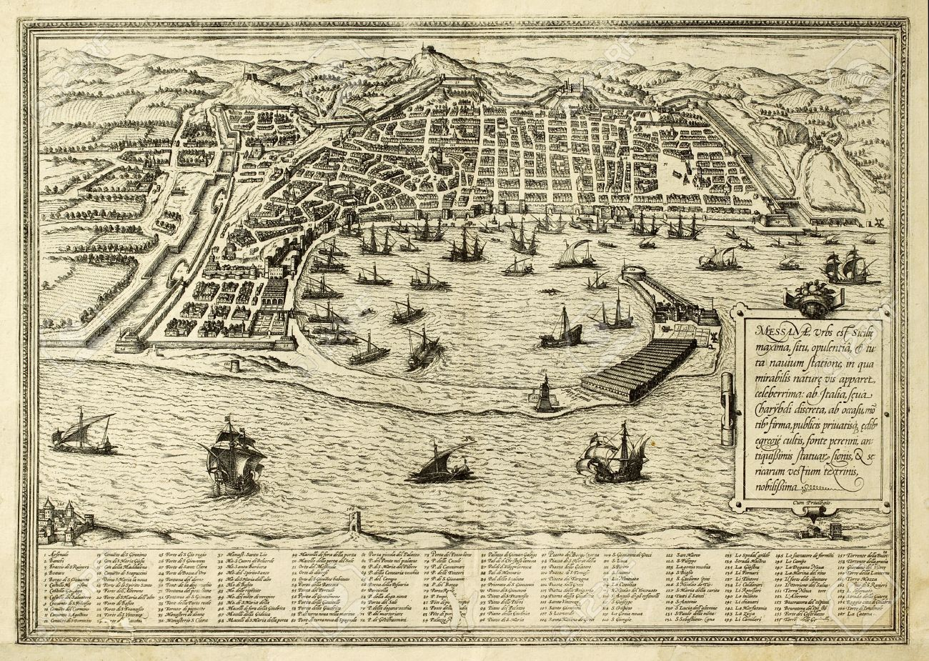 Antique Map Of Messina The Town Of Sicily Separated From Italy