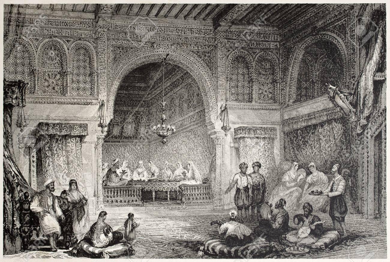 Old illustration of a Moorish palace interior, Algiers. Created by Allon and Challis, published on Il Mediterraneo Illustrato, Spirito Battelli ed., Florence, Italy, 1841 Stock Photo - 14986451