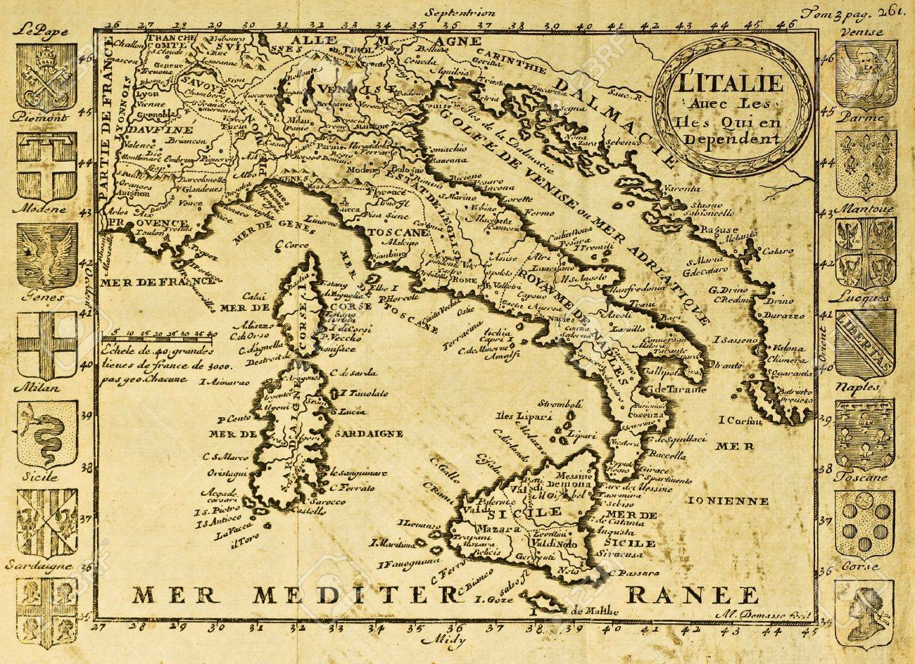 Map of Italy framed by territorial crests. May be dated to the beginning of XVIII sec. Stock Photo - 14986597