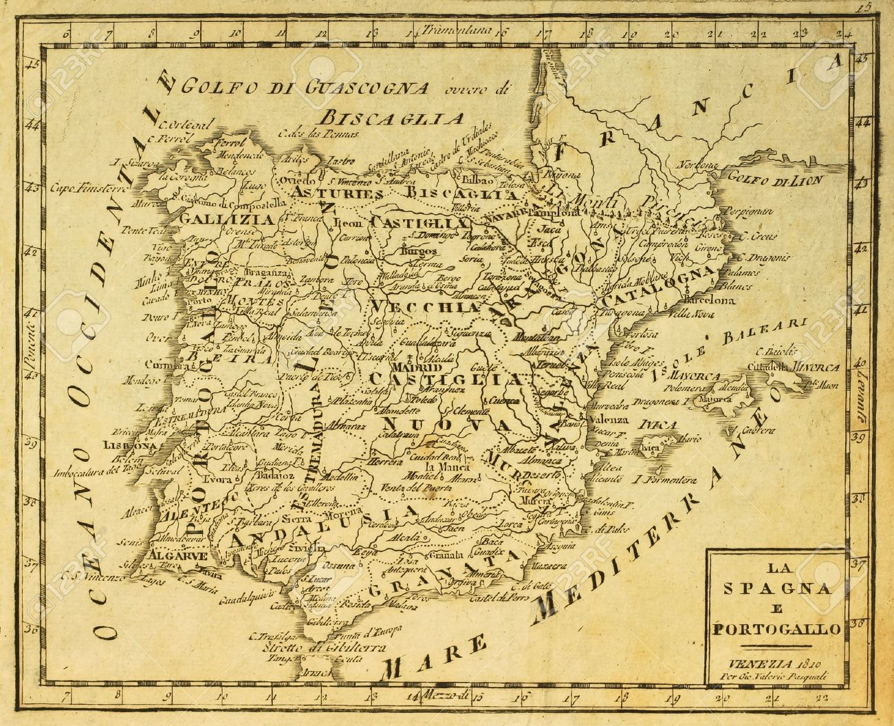 Map Of Spain Old.Spain And Portugal Old Map Published In Venezia Italy 1810