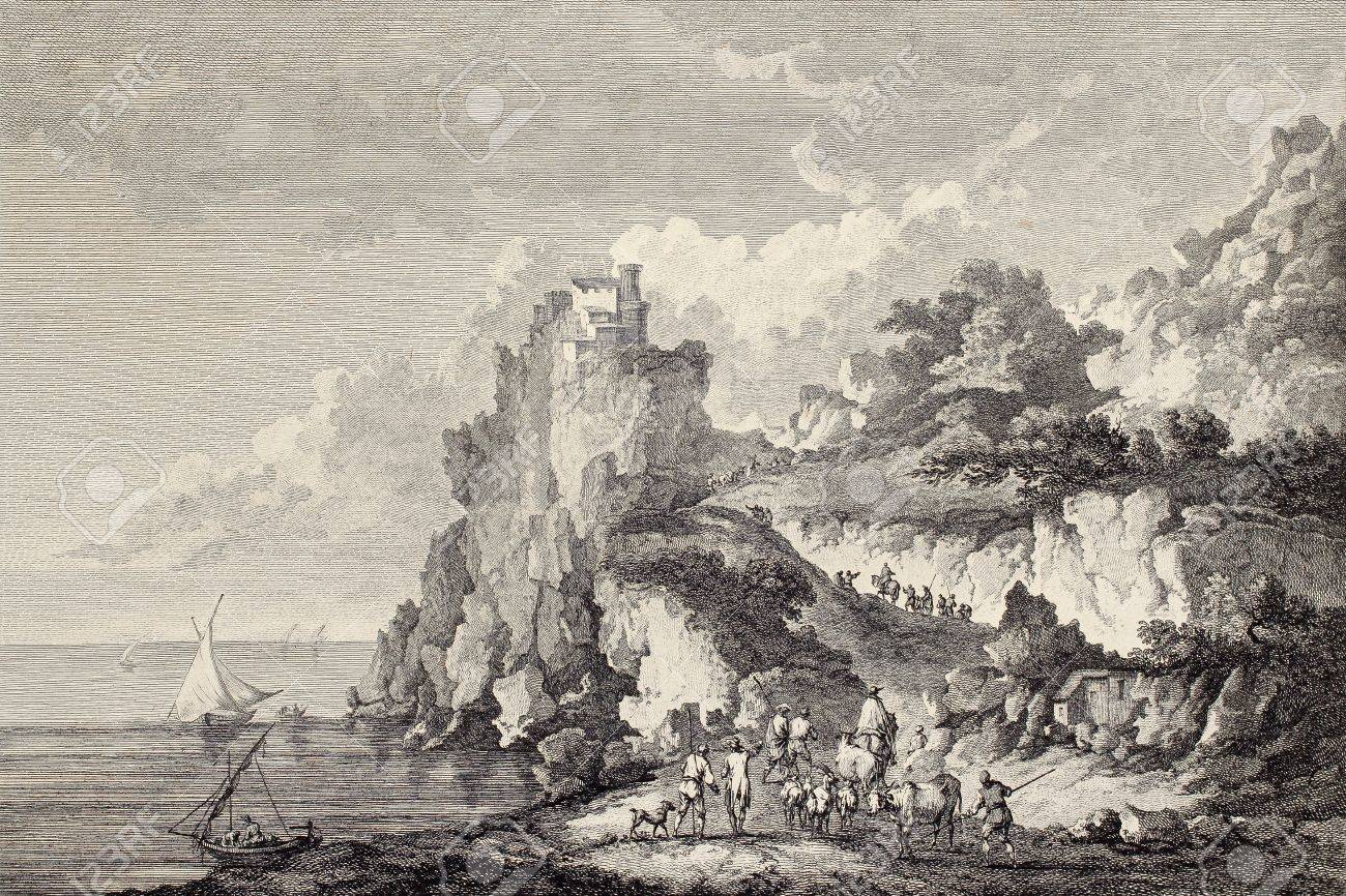Coast of Sicily under castle at Cape Scaletta  Created by Chatelet