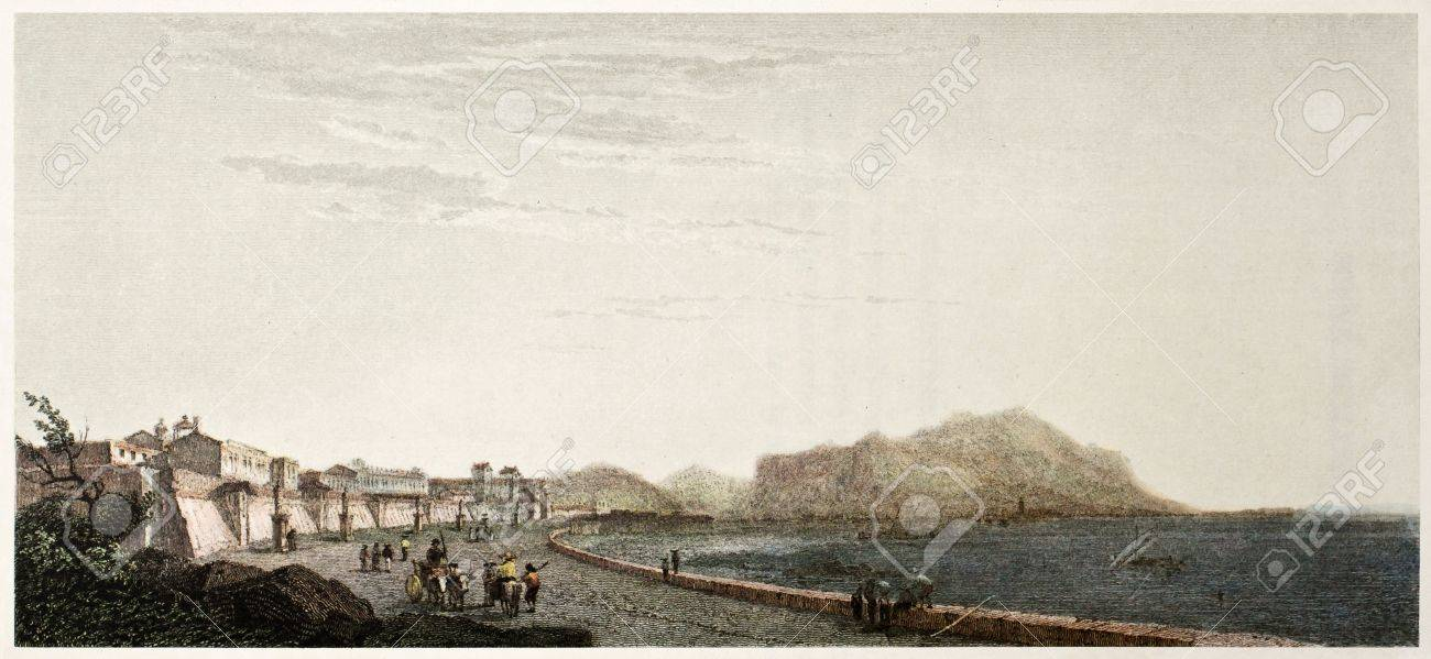 Gulf Of Palermo Old View Sicily Created By De Wint And Willis
