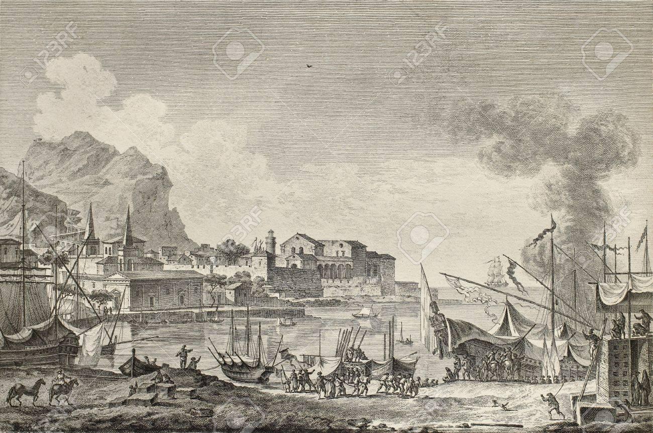 Le port de Palerme - Anna de Noailles 15055347-view-of-port-of-palermo-italy-by-chatelet-and-paris-published-on-voyage-pittoresque-de-naples-et-de-