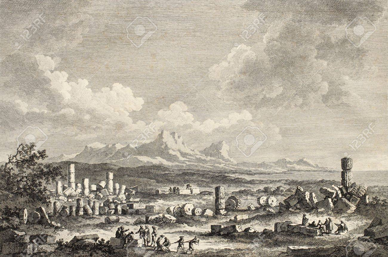 View of Selinunte temple ruins, Sicily. By Chatelet and Guttemberg, published on Voyage Pittoresque de Naples et de Sicilie, by J. C. R. de Saint Non, Imprerie de Clousier, Paris, 1786 Stock Photo - 15055355