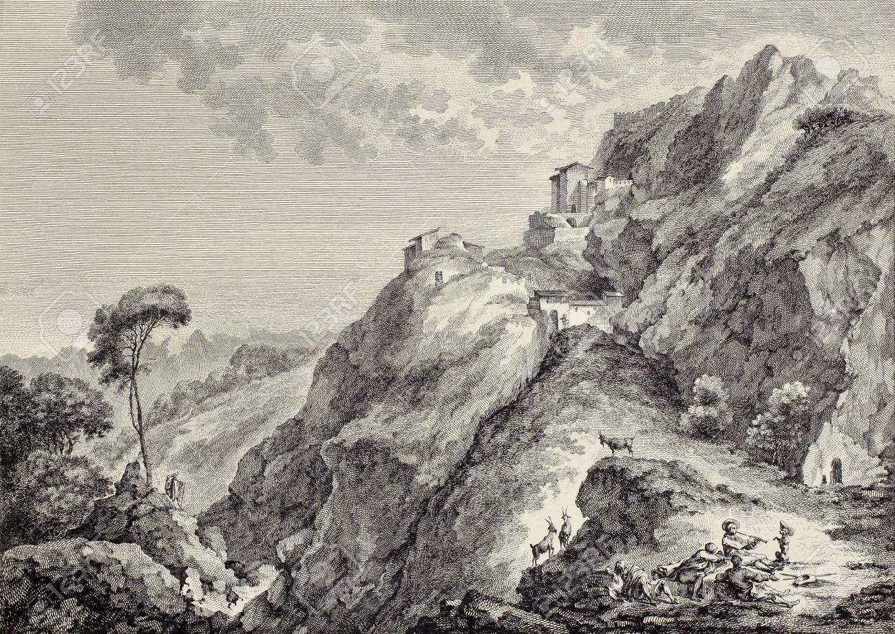Sperlinga castle in Sicily  Created by Basredon and Paris, published