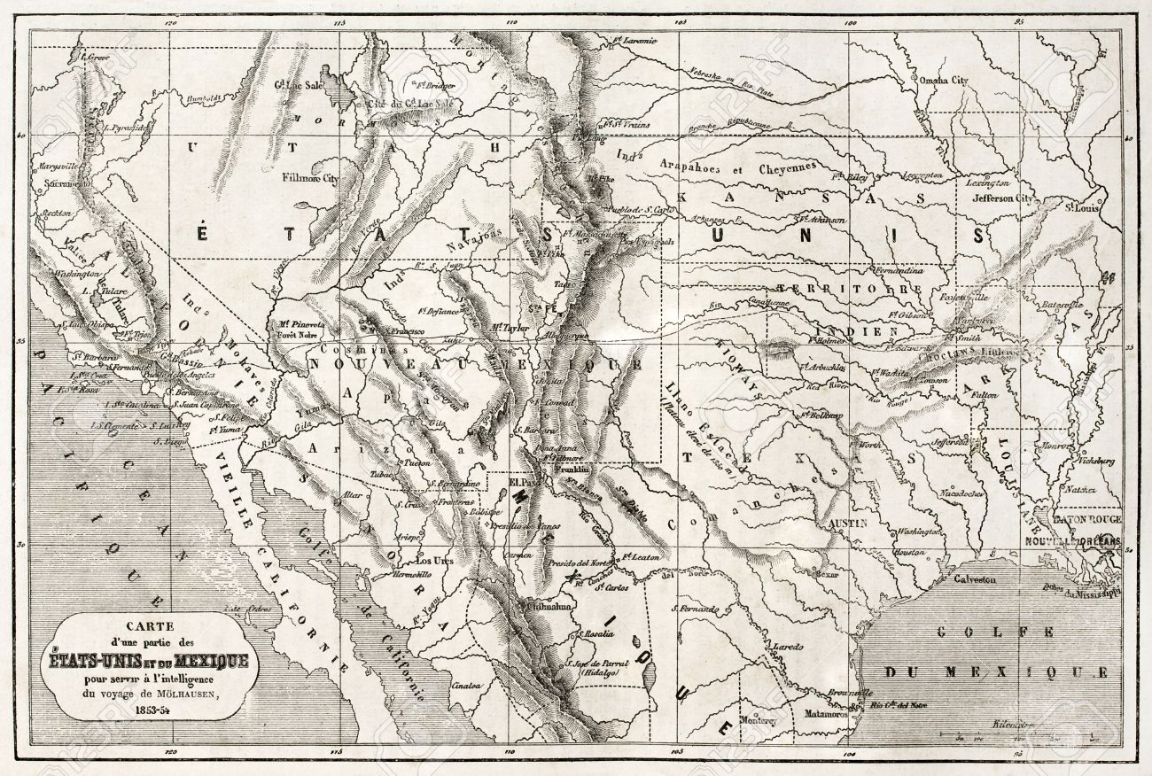 Old Map Of Northern Mexico And Southwestern USA Created By - South western usa map