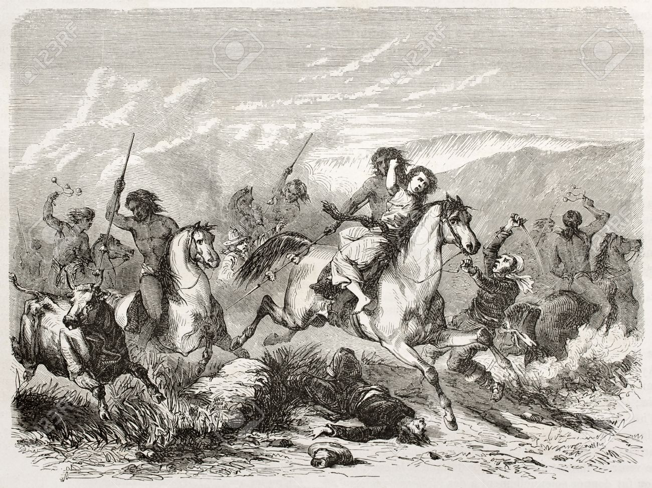Old illustration of a raid and woman rape by south American natives. Created by Duveau after Gay, published on Le Tour du Monde, Paris, 1860  Stock Photo - 15055485