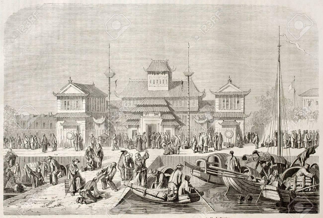 上海税関、古いイラスト。掲載ツアー ルモンド デュ パリ 1860年 ...