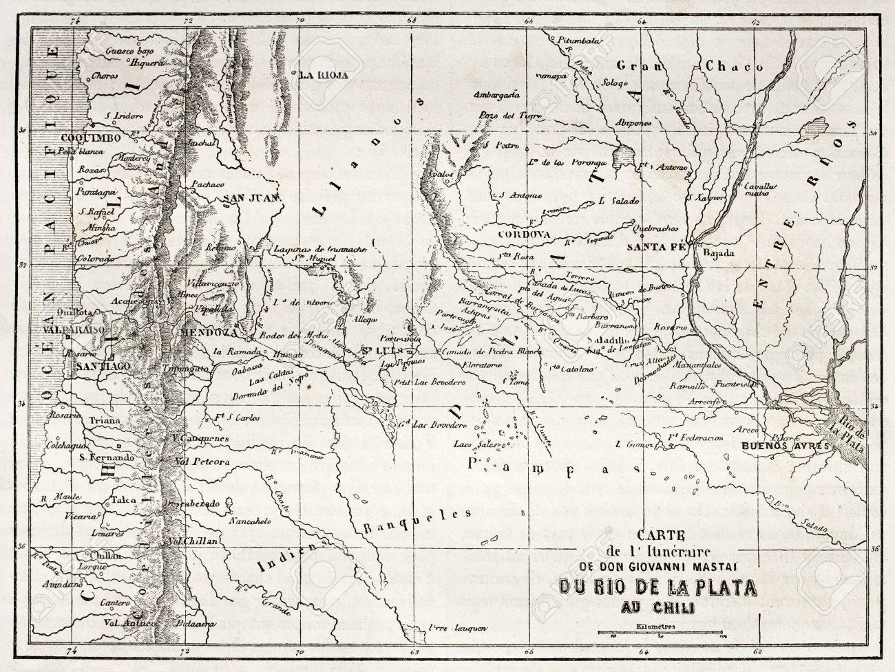 Old Map Of South American Region Between Santiago And Buenos