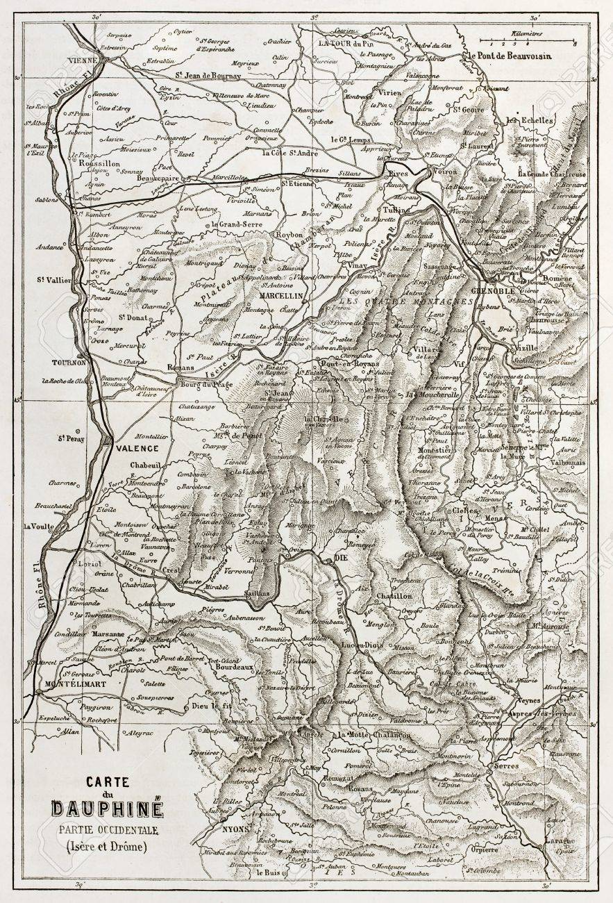 Old Map Of France.Dauphine Old Map France
