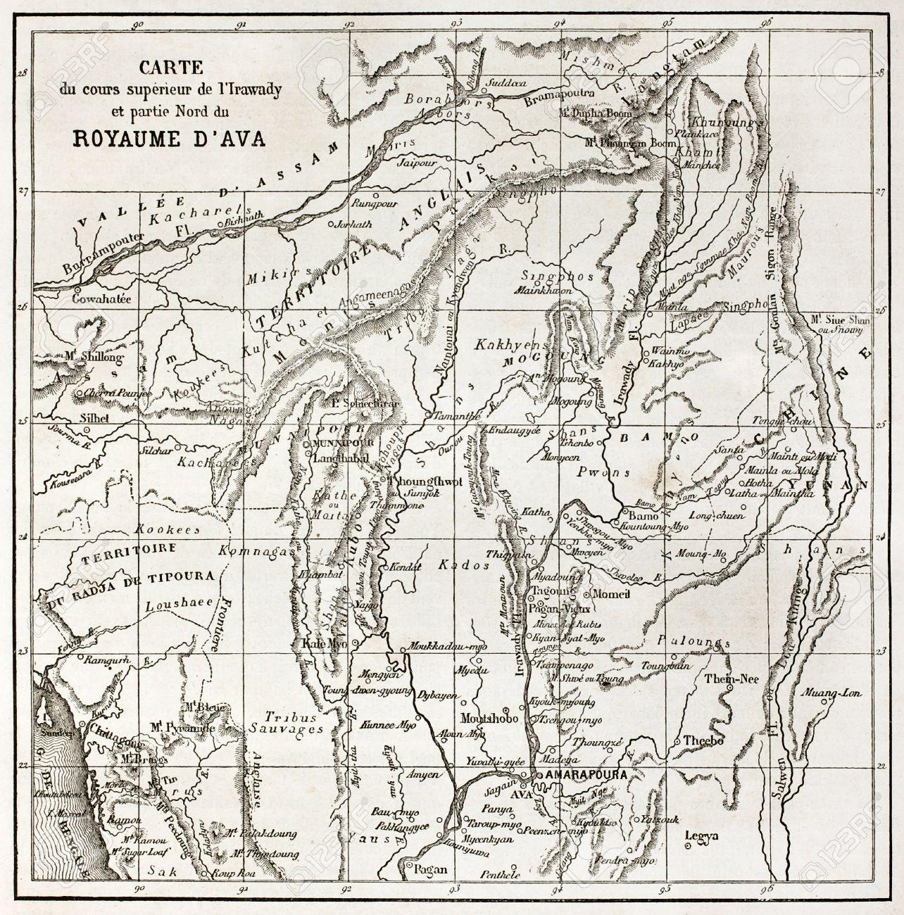 Irrawaddy river northern course old map (Ava Kingdom). Created.. on shwedagon paya, salween river map, andaman sea, amazon river map, ob river, yellow river map, mandalay palace, indus river map, amu darya, inle lake, west river map, chang river map, rhine river map, salween river, yangtze river, red river on map, mali river, amur river map, euphrates river map, kachin state, irrawaddy delta, hong river map, lancang river map, yellow river, mississippi river map, rakhine state, rhone river map, kuthodaw pagoda, vistula river map, ananda temple, niger river map, ob river map, tigris river map, yenisei river, irrawaddy dolphin, chindwin river, brahmaputra river map,