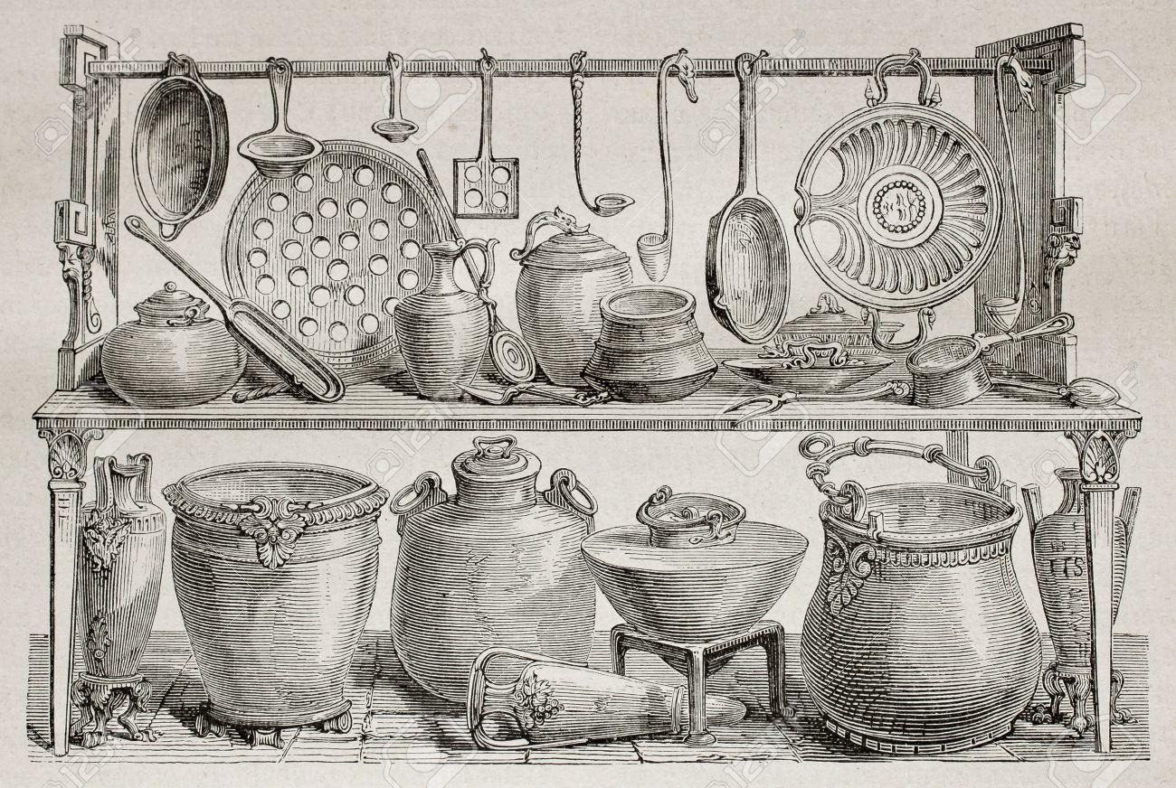 Antigua Ilustración De Utensilios De Bronce Y De Cerámica De Cocina ...