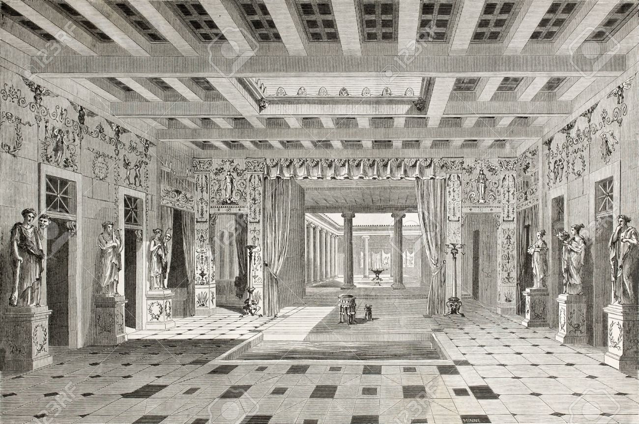 Old illustration of House of Pansa interior, Pompeii, Italy. Created by Lancelot  published on Le Tour du Monde, Paris, 1864 Stock Photo - 15155906